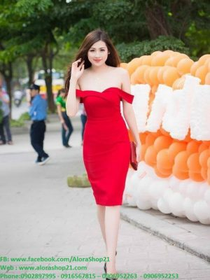 Đầm ôm trễ vai xinh xắn sexy như HH Tú Anh - DN14