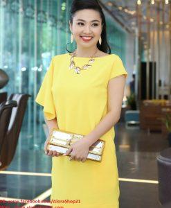 Đầm suông cách điệu 1 bên tay xinh xắn như Lê Khánh - DN15