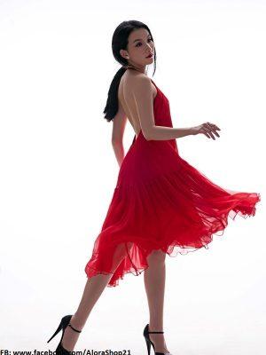 Đầm xòe voan sexy quyến rũ xẻ cao như Thùy Lâm - DN20
