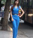 Jumpsuit xanh cổ vest ôm body tôn dáng - J09