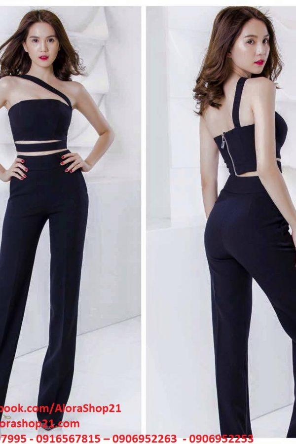 Set áo ống kiểu cut out với vai chéo phối quần ống suông lưng cao – J12