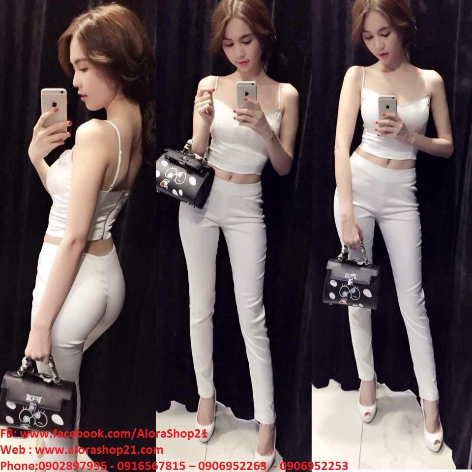 Sét áo croptop hai dây và quần ống ôm sexy sành điệu - J14