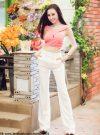 Set áo crop top hồng pastel phối quần trắng sành điệu - J17