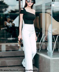 Set áo kiểu lệch vai ngang và quần ống rộng phối đen trắng - J42