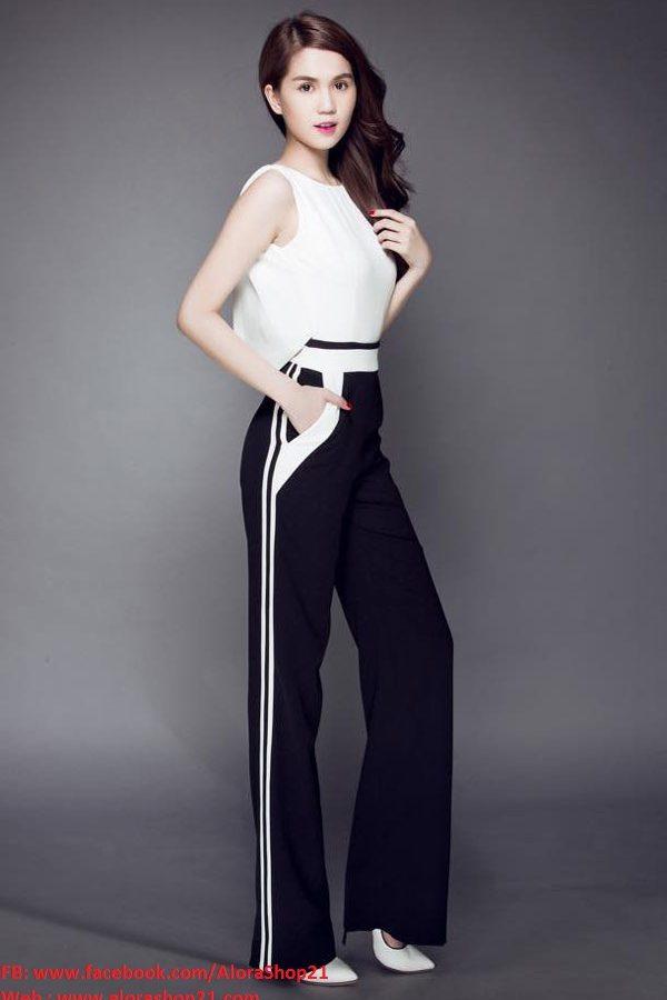 Jumpsuit dài sát nách cổ đổ phối trắng đen như Ngọc Trinh – J53