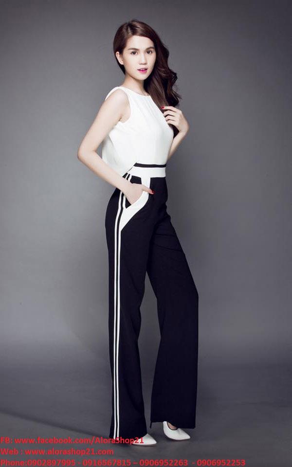 Jumpsuit dài sát nách cổ đổ phối trắng đen như Ngọc Trinh - J53