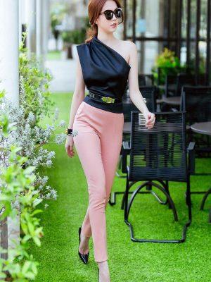 Set áo kiểu lệch vai và quần dài ôm sành điệu xinh đẹp - J57