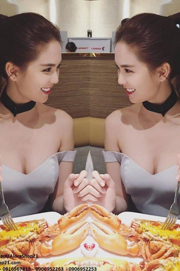 Bộ quần áo Ngọc Trinh thiết kế áo lệch vai quần dài ôm - J64