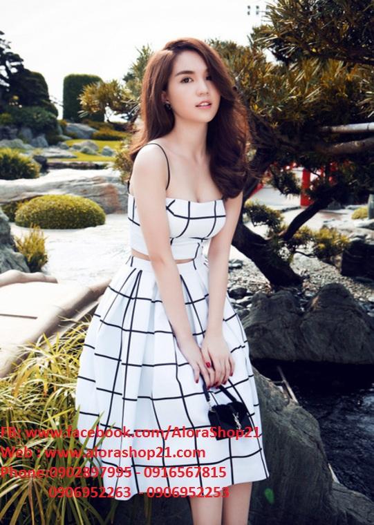 Set Áo Hai Dây Và Chân Váy Xòe Đẹp Như Ngọc Trinh – JL01