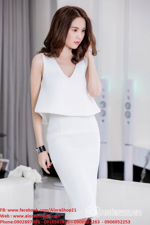 Set rời áo xòe kiểu và váy bút chì như Ngọc Trinh - JL02
