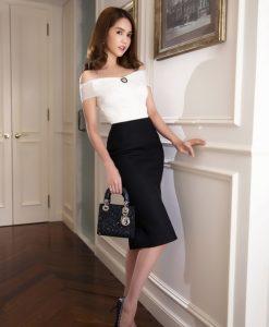 Set áo trắng bẹt vai phối chân váy bút chì đen - JL03