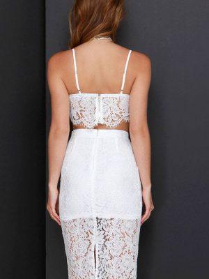 Set áo crop top phối chân váy ren trắng - JL04