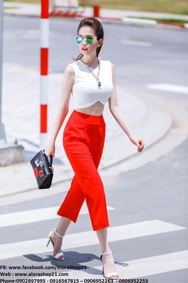 Áo crop top trắng cut out phối quần lửng đỏ như Ngọc Trinh – JL06