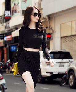Bộ áo kiểu croptop và chân váy ôm body vạt xéo cá tính - JL07