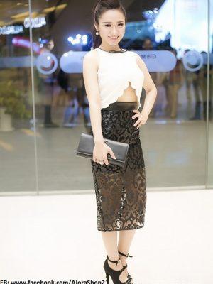 Áo crop top tone trắng không tay cut-out phối chân váy ren - JL08