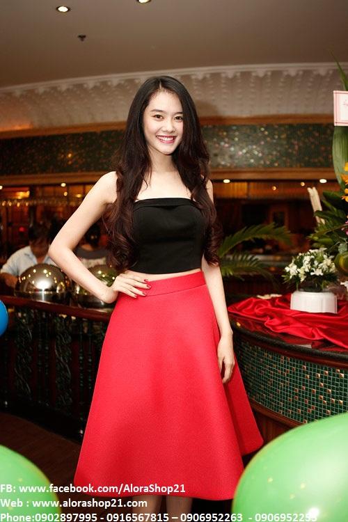Bộ áo crop top nơ và chân váy xòe Linh Chi xinh xắn – JL10