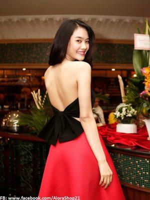 Bộ áo crop top nơ và chân váy xòe Linh Chi xinh xắn - JL10