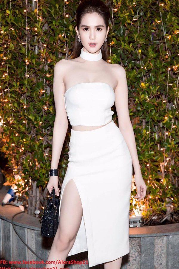 Set áo crop top và chân váy xẻ tà trắng như Ngọc Trinh – JL11