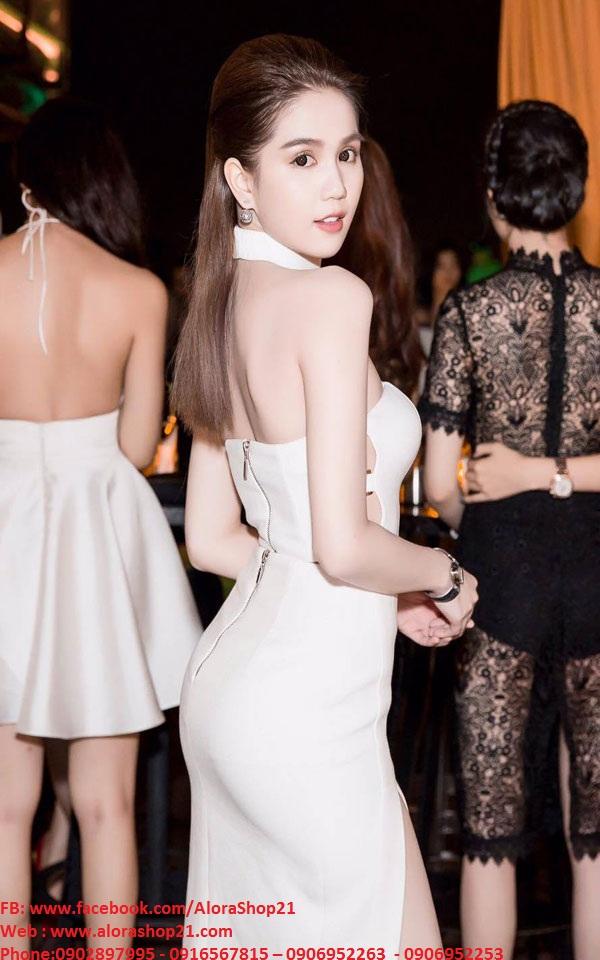 Set áo crop top và chân váy xẻ tà trắng như Ngọc Trinh - JL11