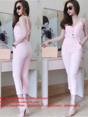 Jumpsuit áo 2 dây phối quần lửng trẻ trung sành điệu - JL22