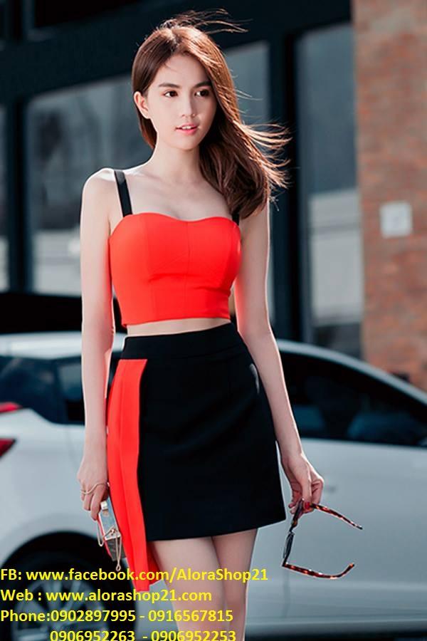 Set áo 2 dây phối chân váy ngắn cam đen lạ mắt – JN05