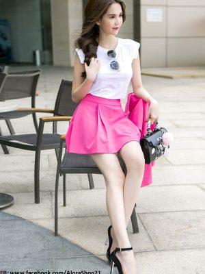 Set áo croptop trắng và chân váy hồng xòe trẻ trung - JN12