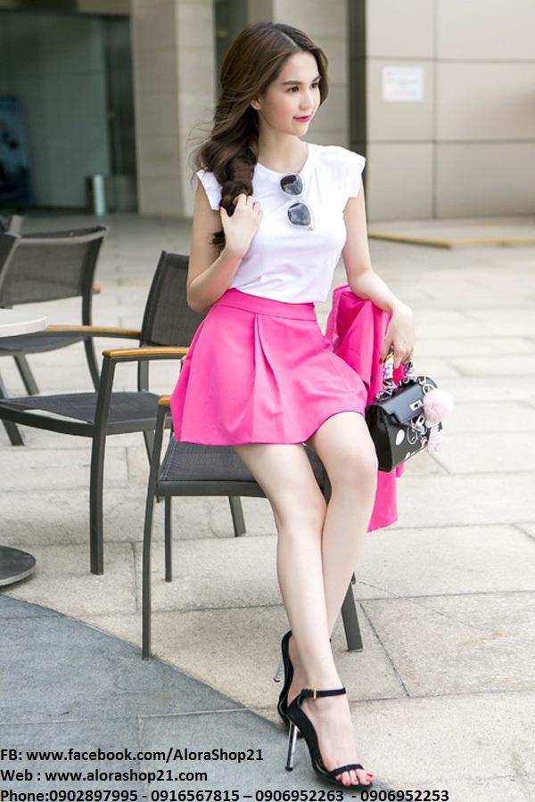 Set áo croptop trắng và chân váy hồng xòe trẻ trung – JN12