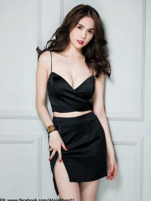 Set áo croptop chéo ngực chân váy dây kéo Ngọc Trinh - JN14