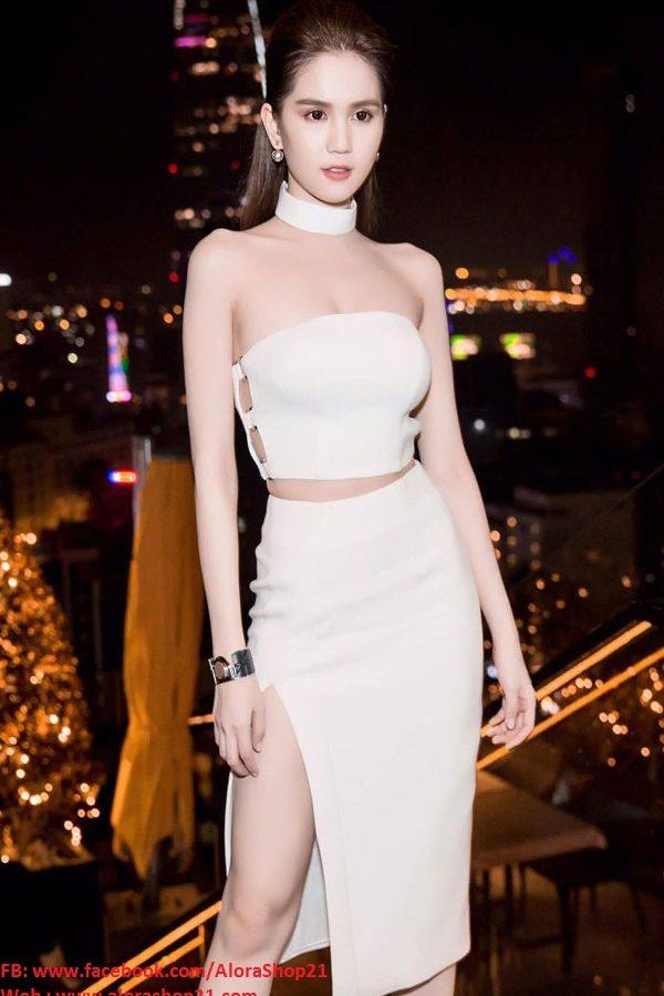 Set áo crop top cúp ngực và chân váy xẻ tà như Ngọc Trinh - JN17
