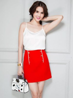 Set áo trắng và chân váy đỏ xinh xắn dễ thương - JN20