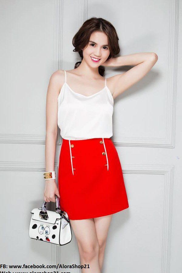 Set áo trắng và chân váy đỏ xinh xắn dễ thương – JN20