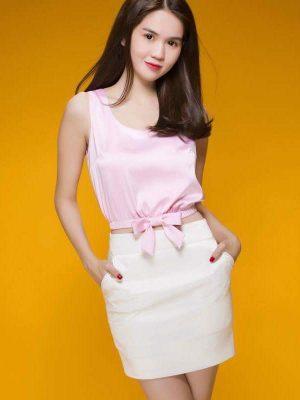 Áo crop top cổ peter pan phối chân váy trắng - JN22