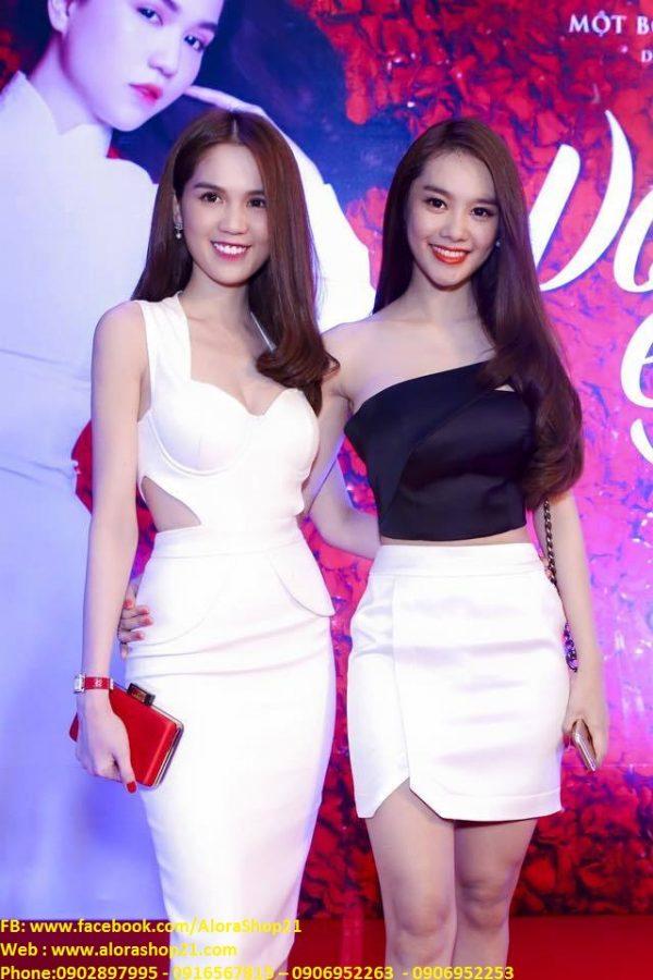 Bộ áo lệch vai và chân váy ngắn thiết kế đẹp như Linh Chi – JN23