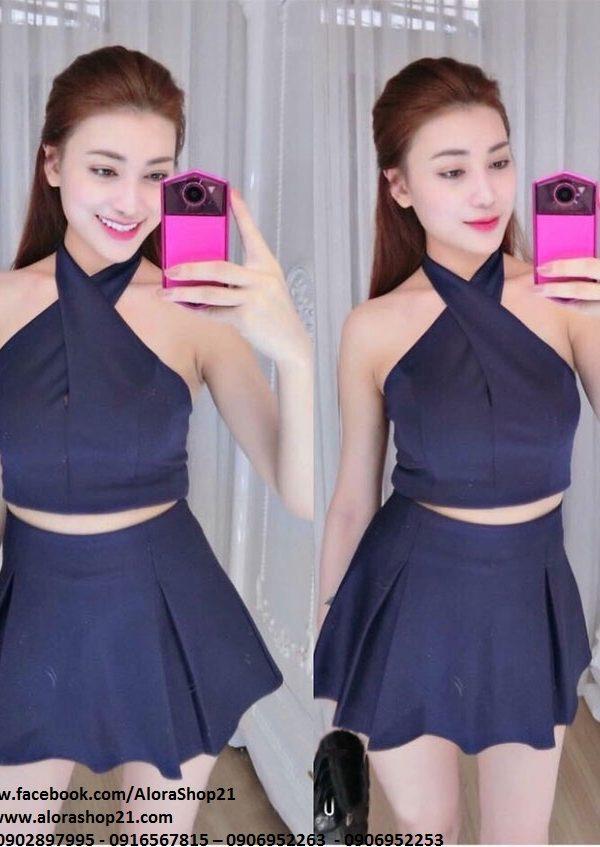 Set áo cổ yếm và chân váy xòe xanh đen – JN24