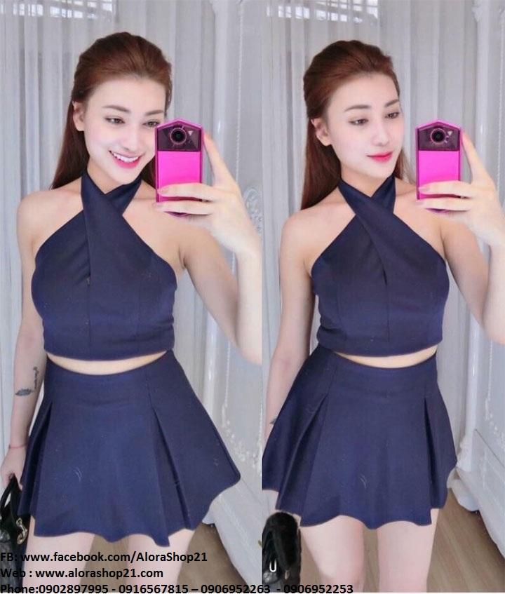Set áo cổ yếm và chân váy xòe xanh đen - JN24