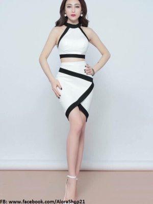 Set rời áo váy thiết kế áo yếm croptop và chân váy trắng viền đen đẹp - JN31