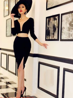Set rời áo váy kiểu áo croptop tay dài váy xẻ đùi - JN32