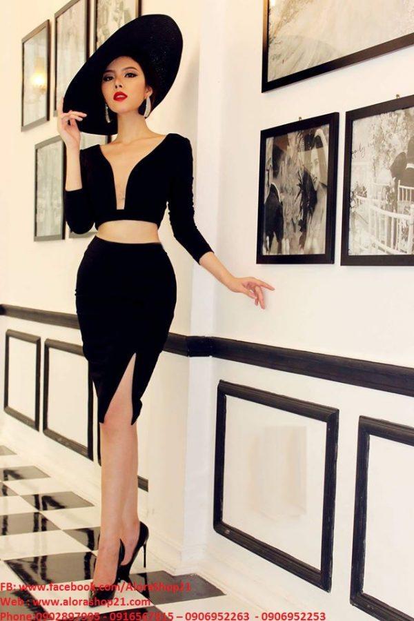 Set rời áo váy kiểu áo croptop tay dài váy xẻ đùi – JN32