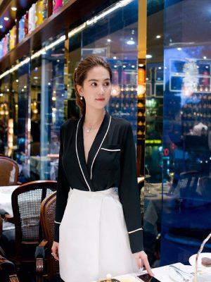 Set áo sơ mi đen và chân váy ngắn dễ thương như Ngọc Trinh - JN35
