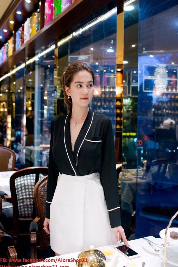Set áo sơ mi đen và chân váy ngắn dễ thương như Ngọc Trinh – JN35