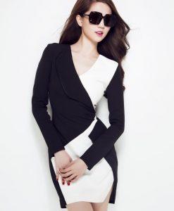 Đầm vest tay dài trắng phối đen lịch lãm như Ngọc Trinh - DN111