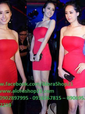 Đầm body đỏ cúp ngực khoét eo như Mai Phương Thúy - DN113