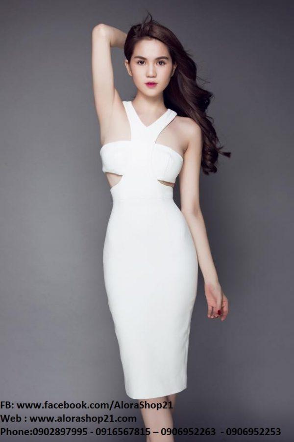 Đầm trắng ôm body sexy thiết kế cutout tinh tế như Ngọc Trinh – DN116