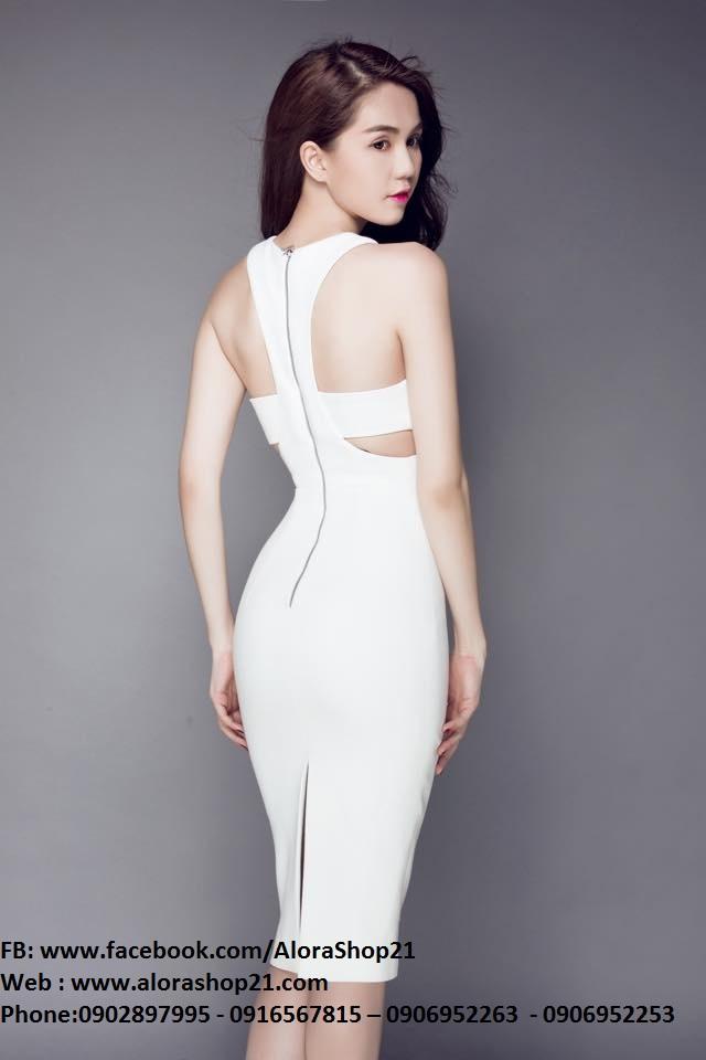 Đầm trắng ôm body sexy thiết kế cutout tinh tế như Ngọc Trinh - DN116