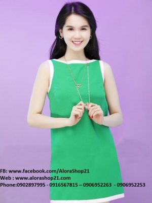 Đầm suông sát nách xanh viền trắng xinh xắn Ngọc Trinh - DN117