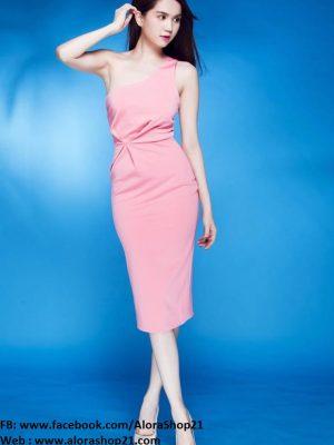Đầm lệch vai dễ thương thiết kế đơn giản như Ngọc Trinh - DN119