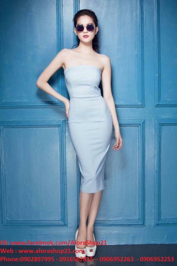 Đầm ôm đi tiệc cúp ngực màu xanh nổi bật và thời trang – DN123
