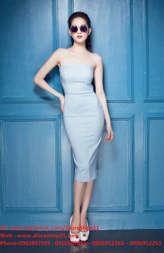 Đầm ôm đi tiệc cúp ngực màu xanh nổi bật và thời trang - DN123