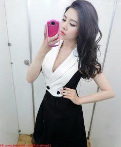 Đầm ôm thiết kế giả vest sang trọng phối 2 màu cá tính trẻ trung - DN139