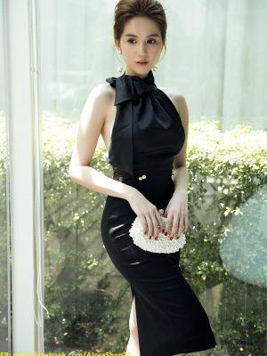 Đầm đen phi bóng sang trọng thiết kế ôm body cột nơ ở cổ - DN144